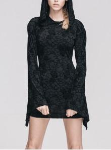 Gothic Black Hooded Roses Flocking Knitted Horn Long Sleeve Dress