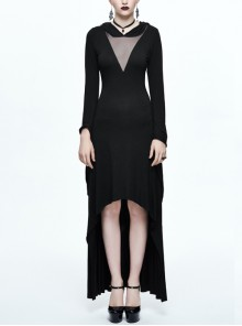 Black Translucent Low-cut Collar Gothic Pointed Hooded Long Sleeve Long Dress