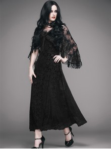 Gothic Black Velour Sling Dress With Lace Feather Tassel Shawl Set