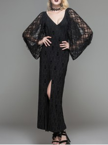 Black Gothic Low Cut V-Neck Lace Long Dress