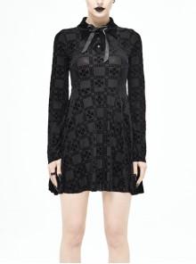 Gothic Black Crucifix Printing Bowknot Long Sleeve Short Dress