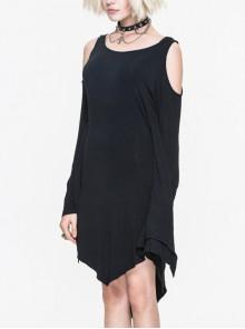 Gothic Concise Black Off Shoulder Irregular Hem Dress