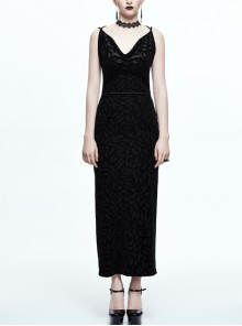 Gothic Black Deep V-collar Feather Printing Backless Sling Dress