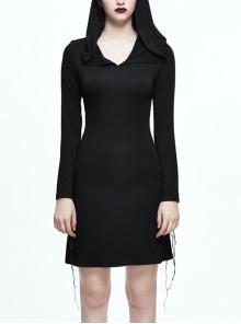 Gothic Black Slim Hooded Cobweb Lace Long Sleeve Dress