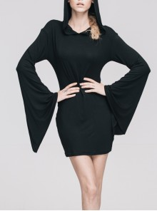 Gothic Pure Black Concise Hooded Cotton Trumpet Long Sleeve Dress