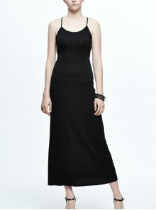 Gothic Black Sexy Sling Backless Long Dress