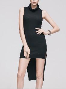 Gothic Black Cotton High Collar Sleeveless Dress