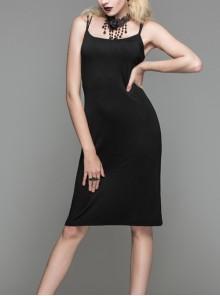 Gothic Black Cotton Backless Sling medium Length Slim Dress