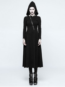 Cyberpunk Black Long Sleeve Hooded Backless Gothic Handsome Long Dress