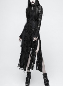 Gothic Black Retro Slim Lace Rope Long Sleeve Long Dress