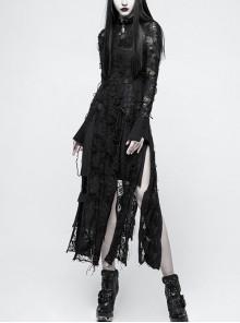 Gothic Black Retro Slim Lace Rope Long Sleeve Long Dress