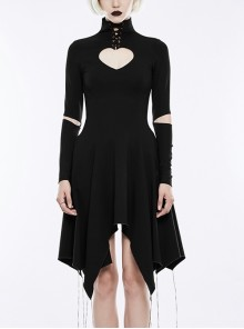 Gothic Black High Collar Heart Shaped Chest Hollow-out Asymmetric Hem Long Sleeve Dress
