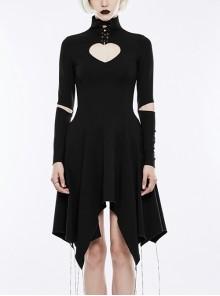 Gothic Black High Collar Heart Shaped Chest Hollow-out Asymmetric Hem Long Sleeve Dress