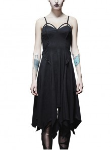 Black Punk Gothic Sexy Asymmetric Hem Sling Dress