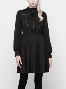 Gothic Diablo Series Black High-collar Long Sleeve Dress