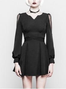 Gothic Black Little V-collar Translucent Long Sleeve Dress