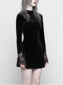 Gothic Black Velour Lace Stitching A-line Hem Long Sleeve Dress