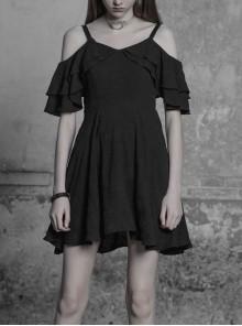 Gothic Black Chiffon Leather Sling Ruffle Sleeve Dress