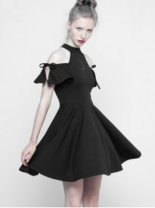 Astrology Series Gothic Black Strapless Short Sleeve Dress