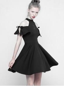 Astrology Series Gothic Black Strapless Short Sleeve Dress