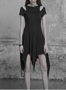 Gothic Black Cotton Irregular Hem Short Sleeve Dress