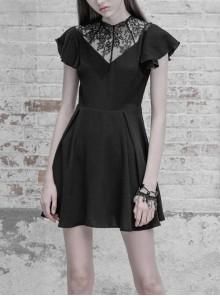 Gothic Black Lace Stitching V-collar Ruffle Sleeve Dress