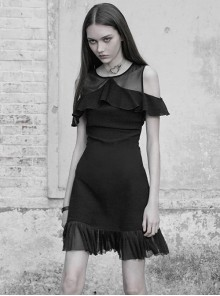 Gothic Black Mesh Stitching Chiffon Ruffle Strapless Dress