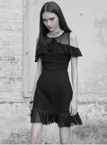 Gothic Black Mesh Stitching Chiffon Ruffle Strapless Dress