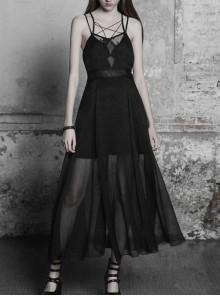 Gothic Black Sexy Lace Chiffon Backless Sling Dress