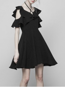 Gothic Black Small V-collar Double Ruffle Lace-up Sleeveless Dress