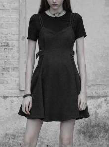 Gothic Black Round-collar Fake Two-piece Strap Short Sleeve Dress