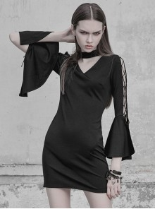 Gothic Black V-collar Hollow Out Lace-up Flare Sleeve Tight Hip Dress
