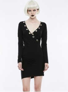Gothic Black V-collar Sexy Punk Slim Simplicity Long Sleeve Dress