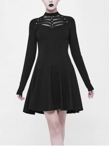 Gothic Black Punk Long Sleeve A-type Hem Short Dress