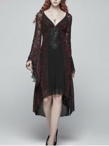 Gothic V-collar Goddess Classical Translucent Long Sleeve Black-red Mid-length Dress