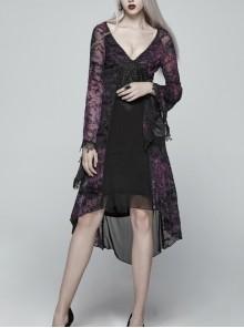 Gothic V-collar Goddess Classical Translucent Long Sleeve Black-purple Mid-length Dress