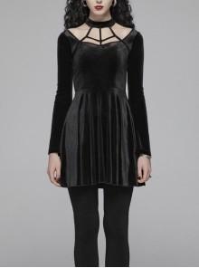 Gothic Daily Velvet Long Sleeve Black Dress