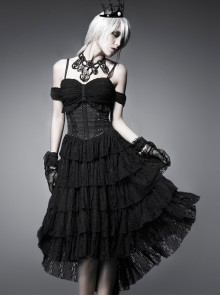Black Multi-layer Lace Hem Decadent Tube Top Gothic Dress