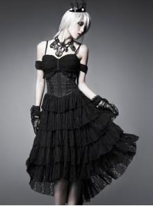 Black Multi-layer Lace Hem Decadent Tube Top Gothic Dress