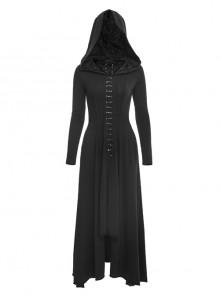 Gothic Hooded Irregular Hem Knit Long Sleeve Long Dress