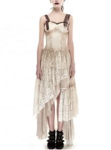 Gothic Asymmetric Hem Lace Do Old Steampunk Dress