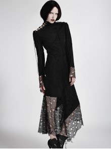 Gothic Black High Collar Asymmetric Punk Mesh Stitching Long Sleeve Dress