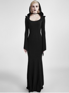 Gothic Mysterious Hooded Slim Long Sleeve Long Dress