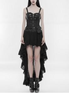 Gothic Black Irregular Hem Steampunk Sexy Stitching Dress