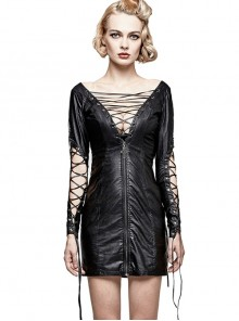 Gothic Black PU Leather Punk Hollow Out Lace-up Deep V Collar Backless Dress