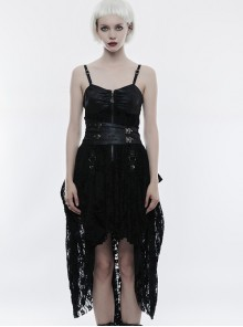Gothic Black Or Brown PU Leather Punk Lace Hem Sling Dress