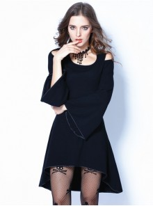 Gothic Black Off Shoulder And Cross Back Long Sleeve Dress
