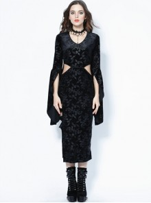 Gothic Black Flocking Waist Hollow Out Half Sleeve Long Dress