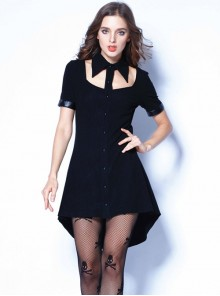 Gothic Black Hollow-out Doll Collar Fitted Short Sleeve Dress