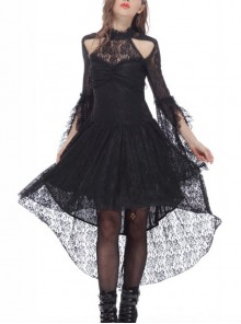 Gothic Black Lace Slim Sexy Long Sleeve Dress